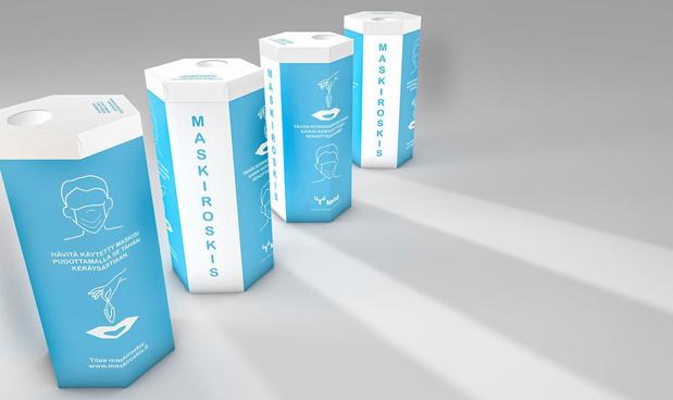 Afvalcontainer voor mondmaskers wint Scandinavische verpakkingswedstrijd