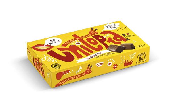Unitopia in volledig papieren chocoladeverpakking