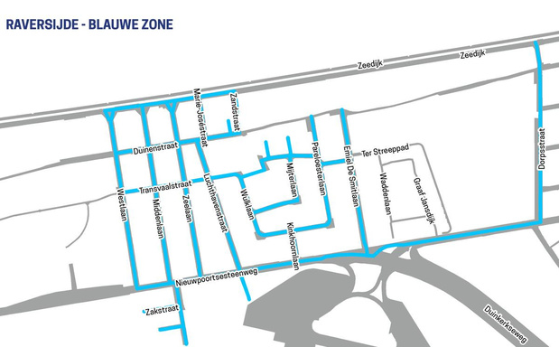 Blauwe zone in Raversijde wordt verder uitgebreid om parkeerdruk aan te pakken