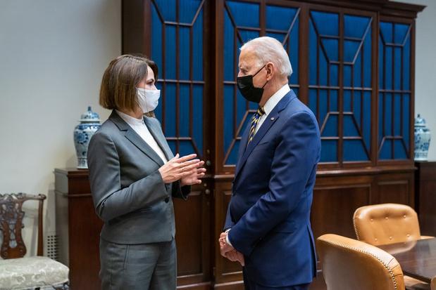 Biden a reçu l'opposante bélarusse Svetlana Tikhanovskaïa à Washington