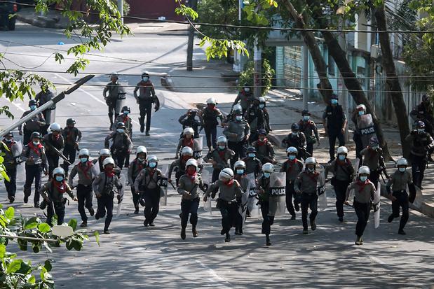 Zeker elf prodemocratische betogers gedood in Myanmar