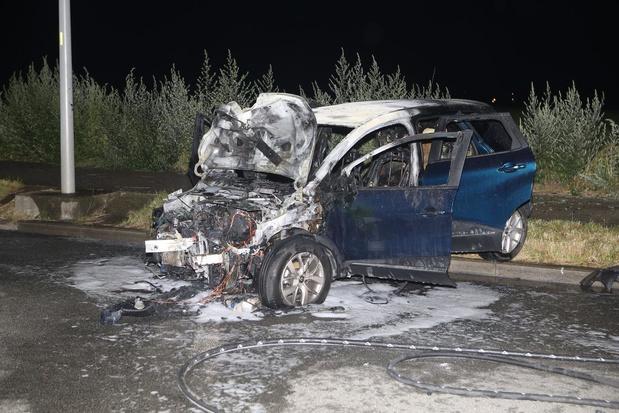 Wagen vat vuur na uitwijkmanoeuvre en knalt tegen verlichtingspaal