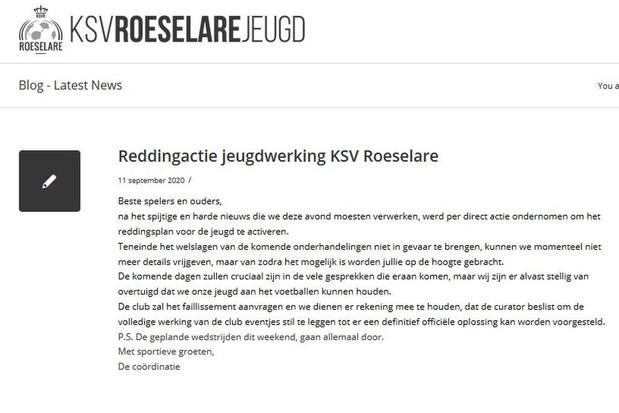 Jeugdploegen KSV Roeselare blijven dit weekend aan de slag, maar toekomst is onduidelijk