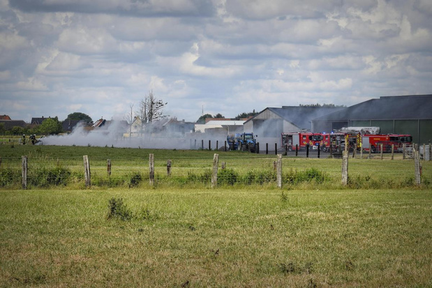 Landbouwster duwt brandend hooi uit loods in Ledegem