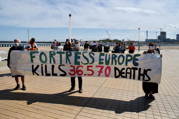Solidariteitsactie voor vluchtelingen in Oostende