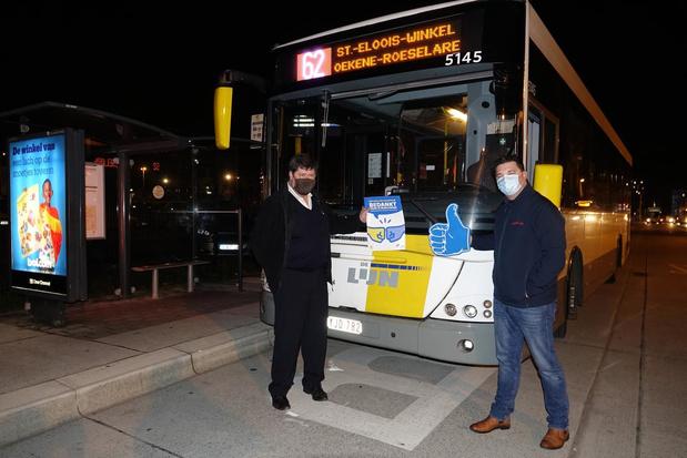 Autocarchauffeurs bedanken collega's van De Lijn in Kortrijk