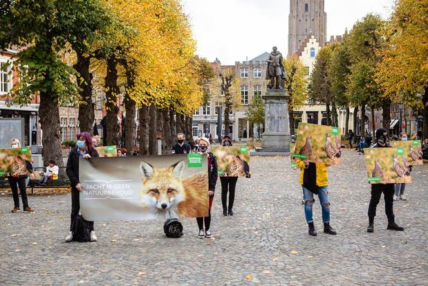 Animal Rights protesteert in Brugge tegen patrijzenjacht