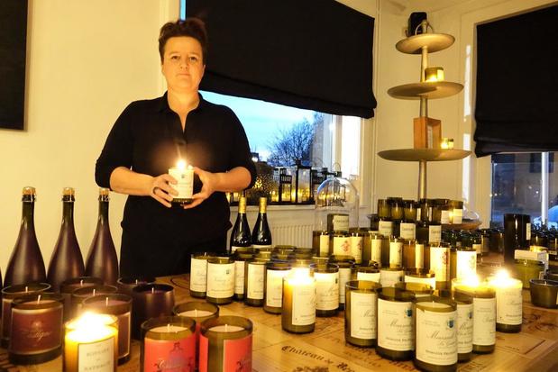 Nathalie van La Différence maakt persoonlijke kaarsen van lege wijnflessen