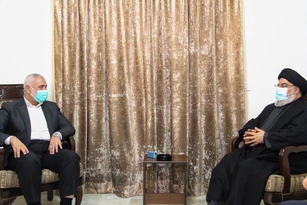 Hezbollah-baas ontvangt leider Hamas in Libanon