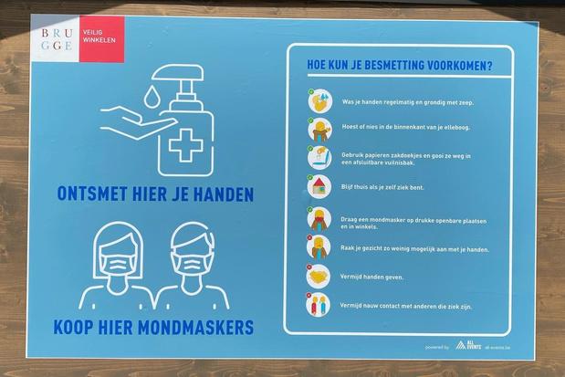 Brugge maakt zich op voor opening winkels: ontsmettingsunits en wachtstippen in straatbeeld