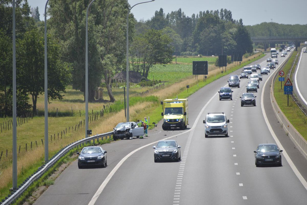 Ongeval op E403 in Ruddervoorde