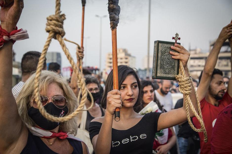 Het Libanese protest houdt aan: 'Er is geen geld voor een burgeroorlog'
