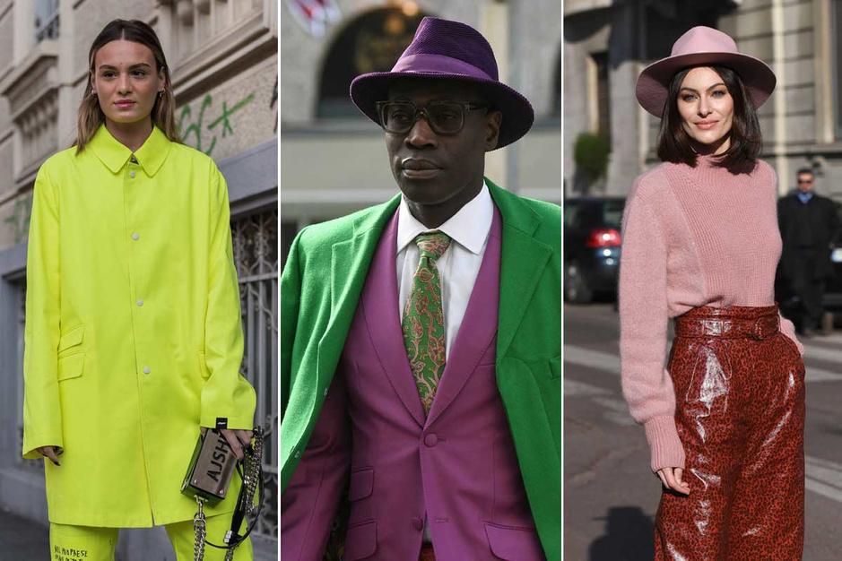 Gespot op straat tijdens Milan Fashion Week: alle kleuren van de regenboog