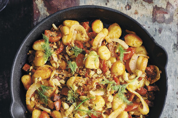 Gnocchi met tomaat, venkel, chorizo en armeluisparmezaan