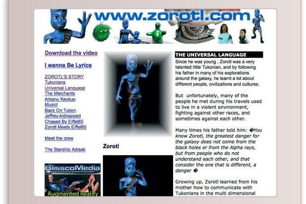 Reis naar de hoogdagen van het internet met de website van Zorotl, de alien uit 'Blue (Da Ba Dee)'