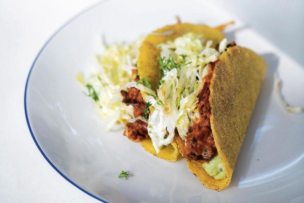 Taco met guacamole en rundergehakt