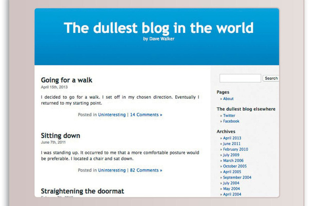 The Dullest Blog in the World, het blogequivalent van Facebook-statussen van strijkende veertigers