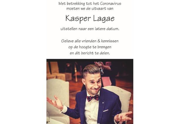 Uitvaartdienst Kasper Lagae toch uitgesteld; publiek afscheid vindt later plaats