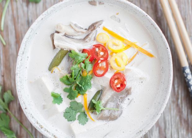 Tom kha soep met oesterzwammen
