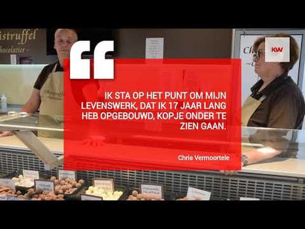 Chocolatier Christruffel uit Lauwe zet marktkraam in oplagplaats