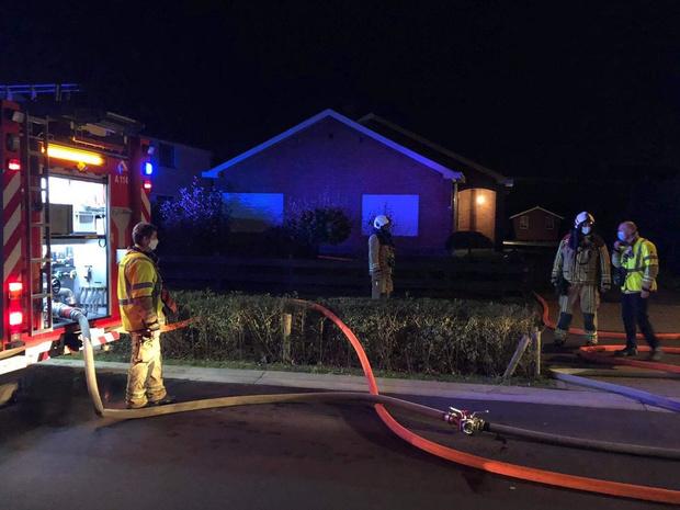 Tuinhuis vat vuur in Jabbeke