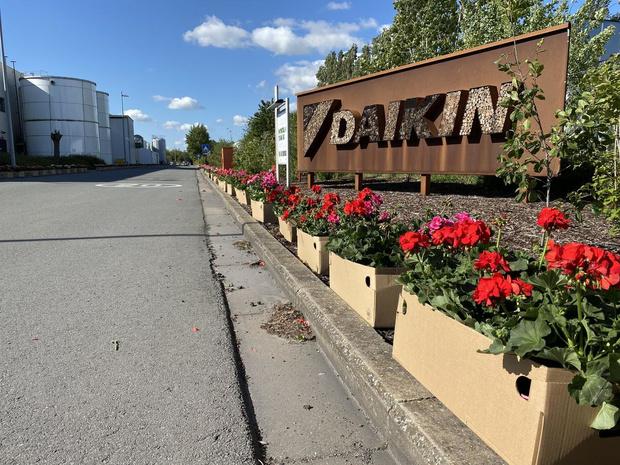 Indrukwekkende bloemenhulde voor werknemers Daikin Europe in Oostende