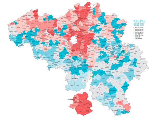 Huizenprijzen blijven stijgen: bekijk op deze kaart hoeveel een woning in uw gemeente waard is