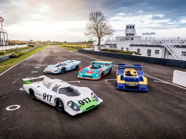 Vier Porsches 917 present in Goodwood