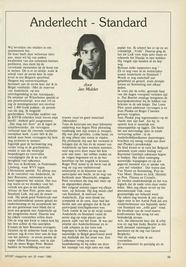 Herlees de allereerste column van Jan Mulder in Sport/Voetbalmagazine