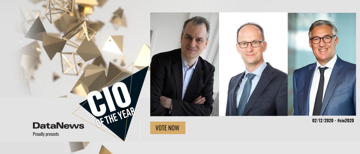 Voici les nominés pour le titre de CIO of the Year 2020 (de gauche à droite): Dirk Altgassen (Group CIO chez Etex), Guido Lemeire (CIO à la SNCB/NMBS) et Yves Dupuy (CIO chez Euroclear)., DN