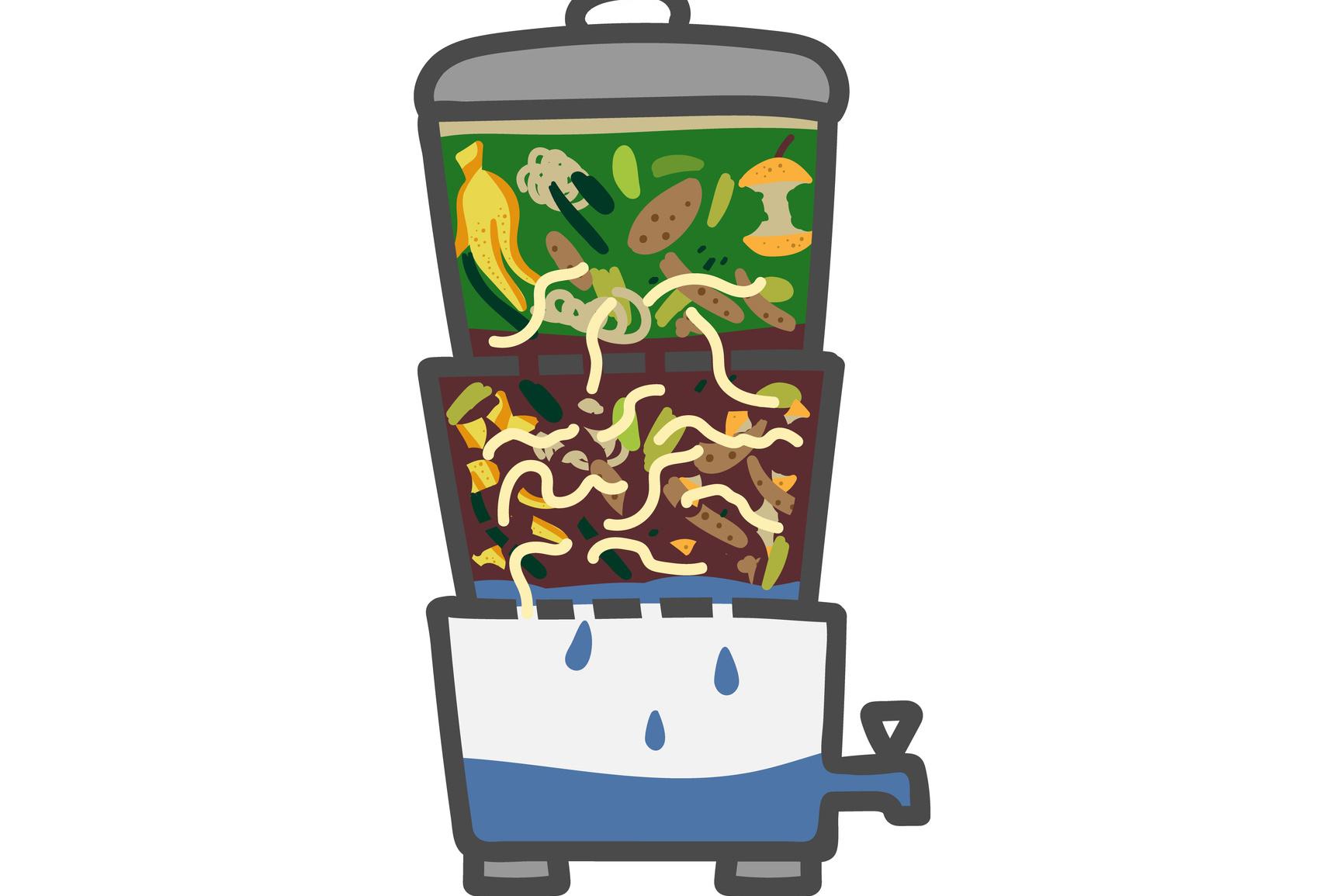 Een schematische weergave van de opbouw van een wormenbak, hier met kraantje voor het percolaat., Getty