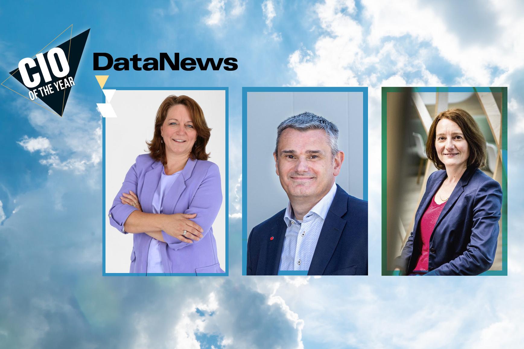 De genomineerden voor CIO of the Year 2021 (v.l.n.r.): Elke Laeremans (CIO/COO bij Torfs), Wim Nagels (CIO bij DPD) en Sophie Marchal (CIO bij AXA)., www.datanewscio.be