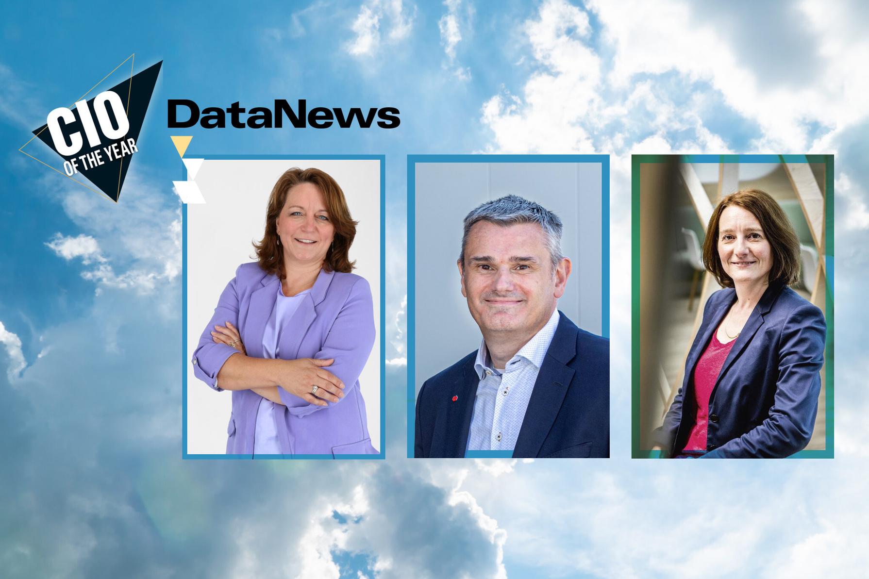 Les nominés au titre de CIO of the Year 2021 (de gauche à droite): Elke Laeremans (CIO/COO chez Torfs), Wim Nagels (CIO chez DPD) et Sophie Marchal (CIO chez AXA)., www.datanewscio.be