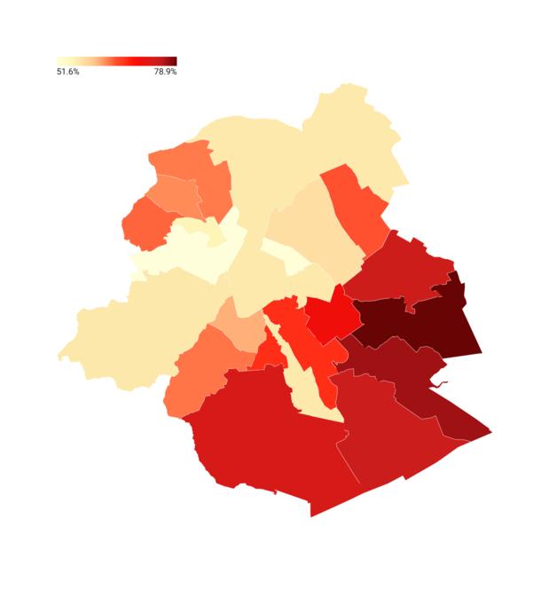 Bruxelles: le niveau de vaccination, commune par commune