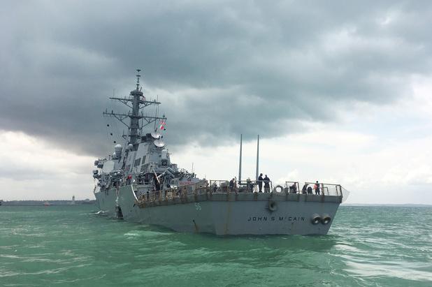 'Oorlogsschip USS John McCain moest uit het zicht bij bezoek Trump aan Japan'