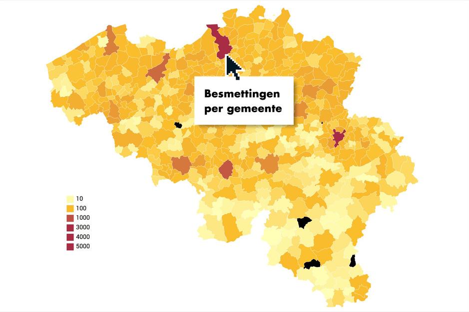 Bekijk op deze kaart de evolutie van het aantal besmettingen in uw gemeente