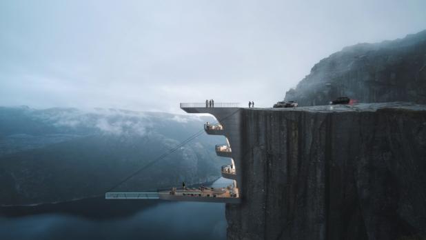 Designstudio pakt uit met hotel op een klif in de Noorse fjorden