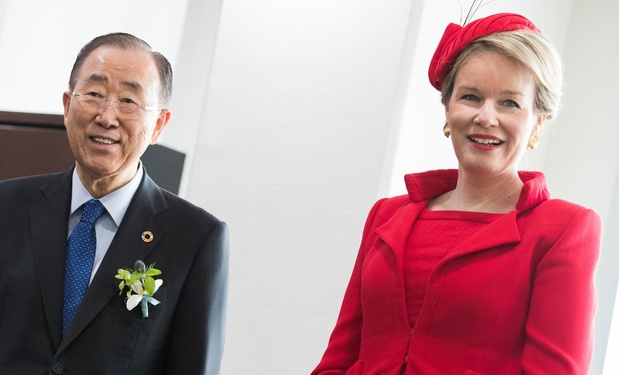 La reine Mathilde rencontre l'ancien secrétaire général des Nations Unies Ban Ki Moon