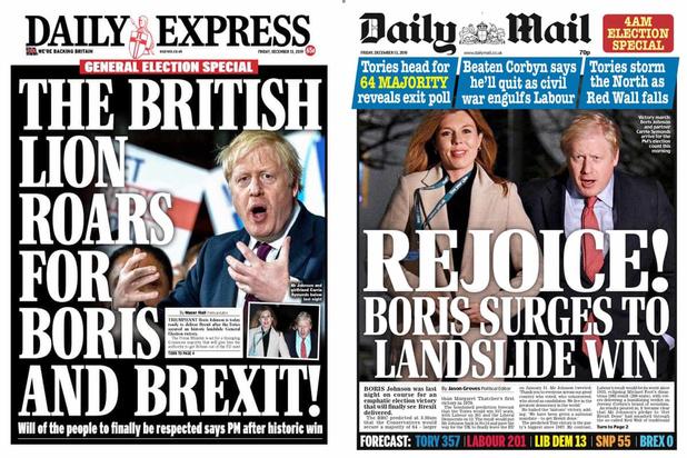 """""""Raz-de-marée"""", """"volonté du peuple"""", """"cauchemar"""": ce que dit la presse britannique de la victoire de Johnson"""