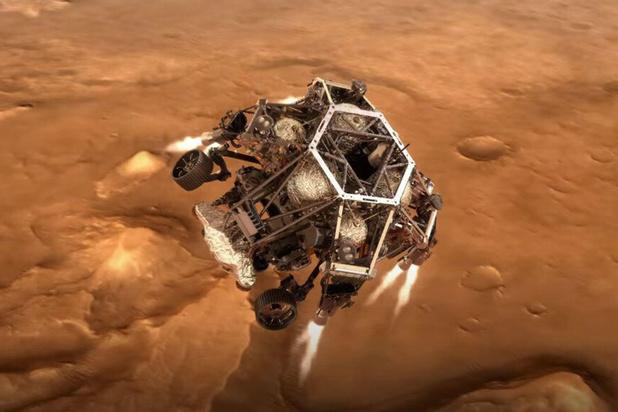 Amerikaanse robotjeep Perseverance geland op Mars