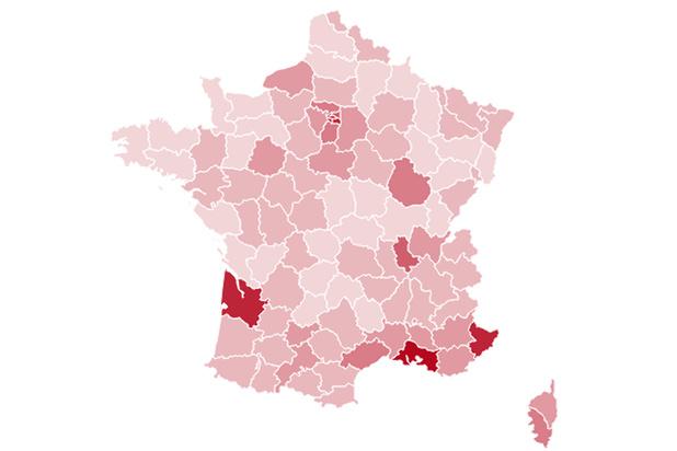 Carte de France de l'évolution du coronavirus par département (infographie)