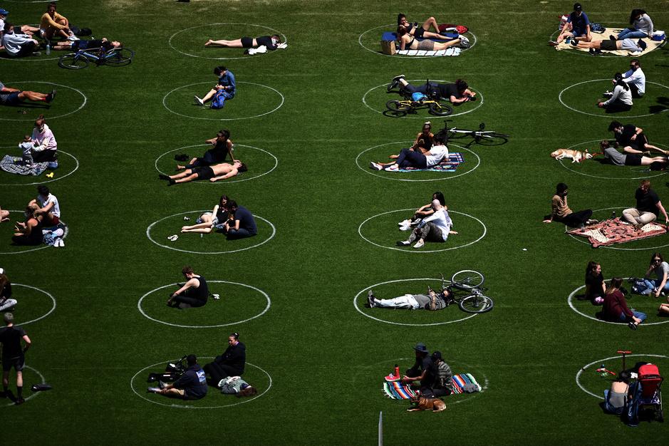 En images : aux États-Unis, les Américains profitent du Domino park avec distanciation sociale