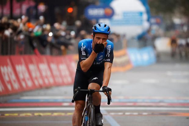 """Tour d'Italie: Victor Campenaerts, content de son chrono, mais """"très fatigué"""""""