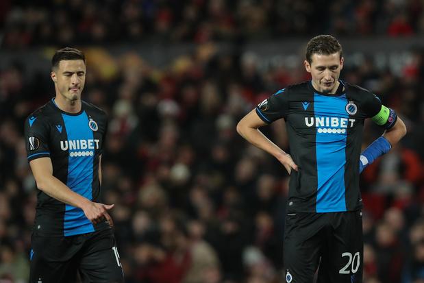 Réduit à 10, Bruges prend une correction à Manchester United