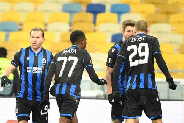 Gehavend Club Brugge speelt gelijk tegen Dynamo Kiev: 1-1