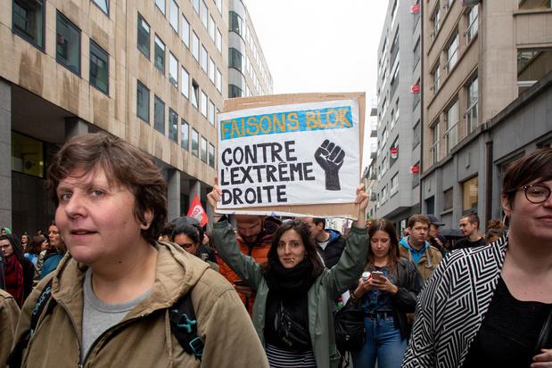 Plus de 4.000 personnes ont manifesté à Bruxelles contre la montée de l'extrême droite