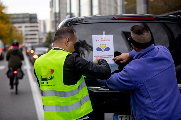 Les chauffeurs LVC manifestent à Bruxelles pour le plan Taxi
