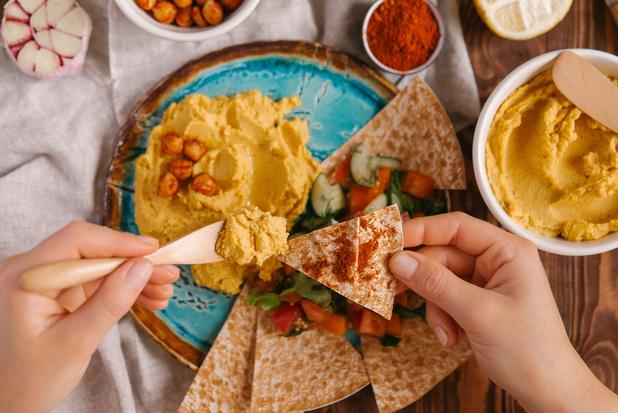 Hummus van zoete aardappel, wortel en saffraan
