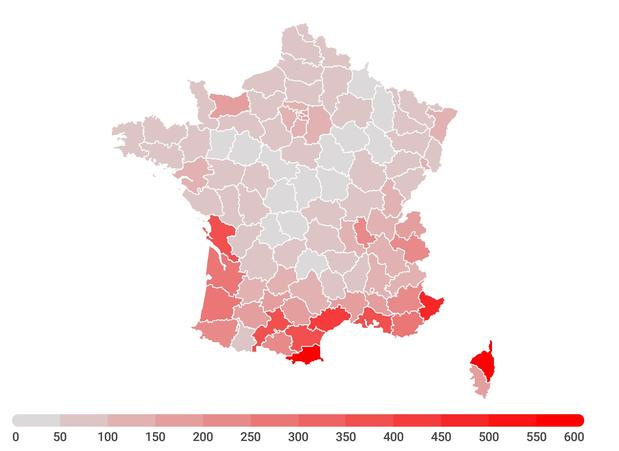 Les contaminations continuent de progresser en France: la carte de l'évolution du Covid par département (infographie)