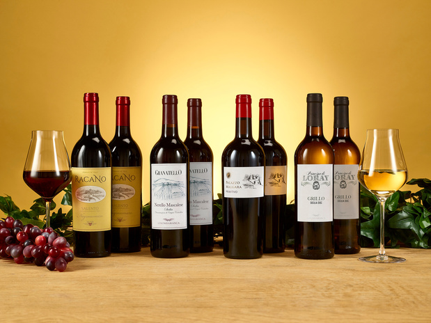 Verleidelijk Wijnpakket van authentieke druiven uit Sicilië en Puglia